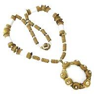 Vintage Miriam Haskell Mid Century Mod Necklace White Pendant Beaded Spools & Cork
