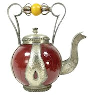 Vintage Moroccan Pottery & Metal Teapot Dark Red Safi Amber Bead 10.75""
