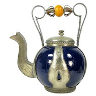 Vintage Moroccan Pottery & Metal Teapot Dark Blue Safi Amber Bead 10.75""