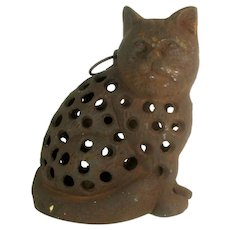 Vtg BLACK CAT GARDEN Lantern Cast Iron Doorstop Hanging Candle Holder Weathered