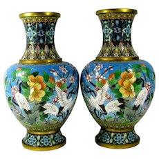 Vintage Chinese Export Egret Cloisonne Vase Pair Prune Blossom Floral Bird Large