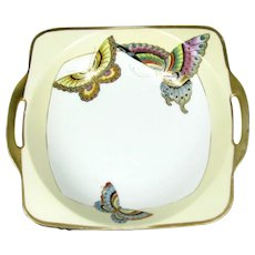 Antique NIPPON BUTTERFLY Bowl Art Deco Hand Painted Design Gold Gilt