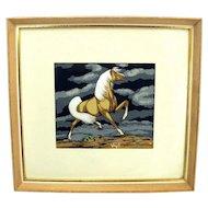 Vintage FRANK VIGIL Palomino Horse Print Silkscreen Serigraph