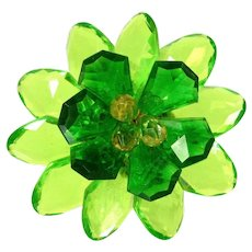 Vintage CARVED LUCITE FLOWER Pin Lime Juice Bright Green 3-D Brooch