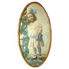 Antique Photograph of Girl Child w/ Original Painting Painted Detail