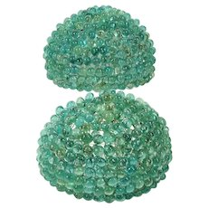 Vintage AQUA GLASS BEAD Shade Sconce Shades Pair Beaded