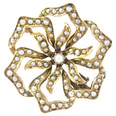Antique 14k Victorian Seed Pearl Flower Pin 79 Pearls