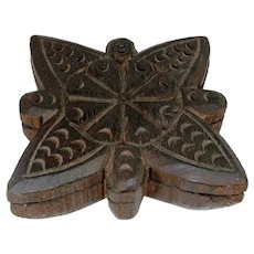 Vintage Carved Wood Spice Box Floral Design Swivel Lid