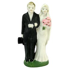 Vintage Occupied Japan BRIDE & GROOM Figurine Cake Topper Flapper Top Hat
