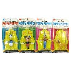1970 Kohner Disney Peppy Puppet 4 Marionette MOC Mickey Donald Goofy Pluto