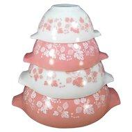 Vintage Pyrex Pink Gooseberry Cinderella Mixing Bowl Set 441 442 443 444