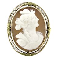 Antique 10K CAMEO Brooch Yellow Gold Carved Shell Pin