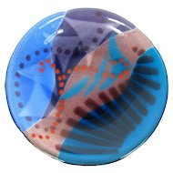 Carol Laby Fused Art Glass Plate Modern Abstract Blue Sculpture