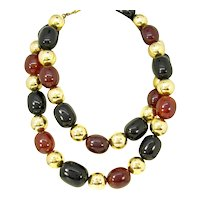 Chunky Vintage Kenneth J Lane Gilt Metal & Bakelite Bead Necklace