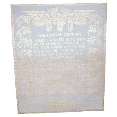 "Vintage The Lord's Prayer Hand Filet Crochet Wall Hanging Table Cloth 35"" x 29"