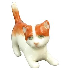 "Metzler & Ortloff Cat Figurine 1 3/8"" German Porcelain Dollhouse Miniature Kitten"