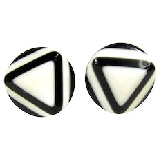 Vintage Mod Black & White Layered Lucite Earrings Clip On