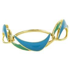 Vintage TRIFARI Enameled Waves Bracelet Blue Green Enamel Designer Signed