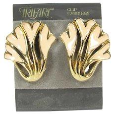 Vintage TRIFARI Heart Floral Enamel Earrings Clip On Enameled Designer Signed