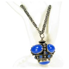 Vintage Lg Blue Glass Etruscan Revival 830 Silver Fob on Sterling Byzantine Charm Bracelet