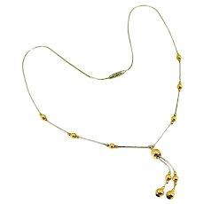 Vintage 14k Gold Bead Sterling Liquid Silver Tube Beads Necklace