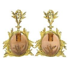 Gorgeous CHERUB & BIRD Gold Ormolu Perfume Bottle Pair Rosy Glass Bottles