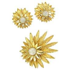Vintage JOMAZ Golden Floral Rhinestone Pin & Earrings Set