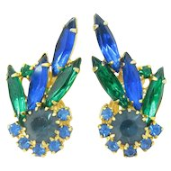 D&E JULIANA Blue & Green Rhinestone Earrings