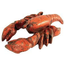 Vintage LOBSTER CAST IRON Bottle Opener Paperweight Metal Figural Red