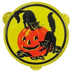 Vintage Kirchhof Halloween Tambourine Black Cat & Pumpkin