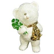Lefton Irish Teddy Bear Figurine Green Shamrocks Gold Scarf Figure