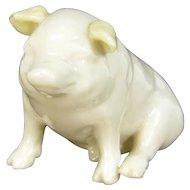 Vintage Irish Belleek Pig Figurine Porcelain Figure