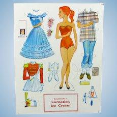 Vintage Betty Carnation Ice Cream Advertising Paper Doll Set Uncut Sheet 1960'S Premium
