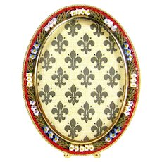 Vintage Italian Mosaic Picture Frame Red Blue White Flowers Italy