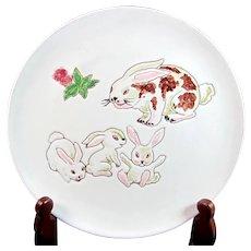 Vintage INVENTO BUNNY Rabbit Plate Italian Art Pottery Italy Signed