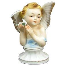 Vintage UCAGCO ANGEL Gorgeous Figurine Applied Flowers Gold Trim Figure Japan
