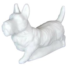 Vintage SATIN GLASS SCOTTY Dog Figurine Opal Milk Scottish Terrier Paperweight