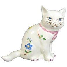 Vintage White Persian Floral Cat Figurine Art Pottery/Ceramic Kitten