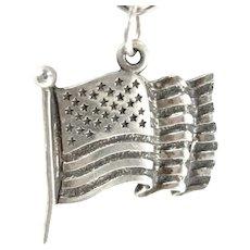 Vintage AMERICAN FLAG Sterling Charm Patriotic Silver Pendant