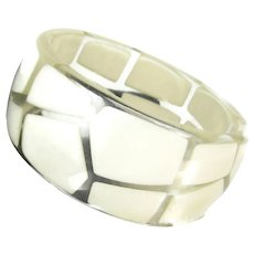 Fab Lucite Bangle Clear w/ Embedded Off White Pcs Mod Statement Bracelet