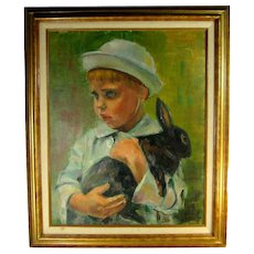 Young Boy & Rabbit Oil Painting On Canvas Board Artisan Signed Lissa