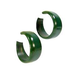 Vintage Green Bakelite Hoop Earrings Clip On