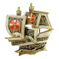 Vintage Spain Damascene Ship Pin Enameled Brooch