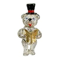 Napier Articulated Teddy Bear Pin Holiday Brooch