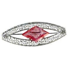 Vintage Silvertone Filigree Pink Glass Rhinestone Pin