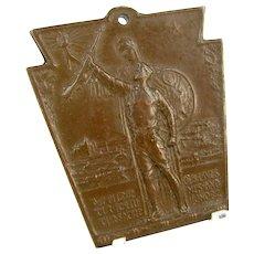 Antique WWI Pennsylvania RR Railroad Service Medal 1917 1918 P.E. Pearch