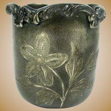 Antique Manhattan SP Toothpick Holder Silver Plate Floral Votive Candle Holder