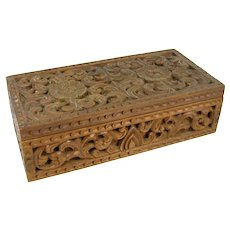 Vintage Intricately Floral Carved Wood Box