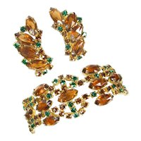 Vintage Shade of Autumn Rhinestone Bracelet & Earrings Set Ex