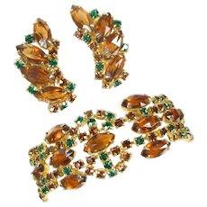 Vintage Shade of Autumn Rhinestone Bracelet & Earrings Set Ex